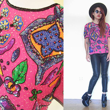 Vintage 80's embroidered pink sequin blouse disco dynasty silk