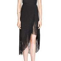 Black V-Neck Sleeveless Fringe Dress