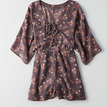 Don't Ask Why Lace-Up Romper, Iced Mocha