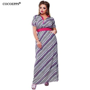2017 New Striped Women floor length Dress With Sashes Winter 4xl 5xl 6xl Big Plus Size Chiffon Printed Boho Maxi Long Dresses