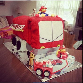 Fire truck diaper cake, diaper cake centerpiece, towel fire truck baby gift, baby shower gift, mommy to be gift basket