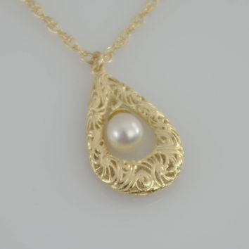 14K Gold Filigree Teardrop Necklace