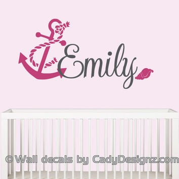 Anchor Name Wall Decal - Girls Nautical Decor - Baby Sailor Vinyl Wall Decals -Nautical Nursery - Girls Sailboat - Personalized Name - 14x32