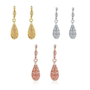18K Rose Gold Platinum Plated Earrings Drop Dangle French Clip .36""