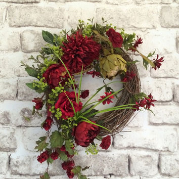 Red Silk Floral Wreath, Valentines Day Wreath,Valentine Wreath,Valentine Decor,Spring Wreath,Front Door Wreath,Outdoor Wreath,Grapevine,Etsy
