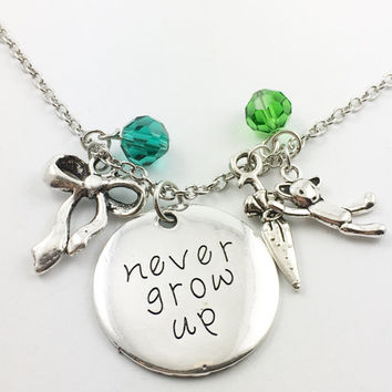 "Peter Pan theme hand stamped ""never grow up"" necklace"