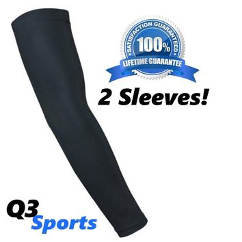 Q3 Sports Arm Sleeves – 2016 Compression Arm Sleeves For Sports and Fitness – Best Basketball Arm Sleeves With Durable Flex Technology – Football / Baseball / Running / Shooting Sleeve – UV Sun Protection - 1 pair (2 sleeves) 100% SATISFACTION GUARANTEE