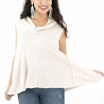 Women's Sleeveless Thermal Knit Top with Cowl Neck