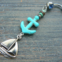 sailboat belly ring anchor belly ring nautical belly ring