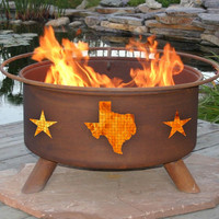 Texas State And Stars Rustic Fire Pit
