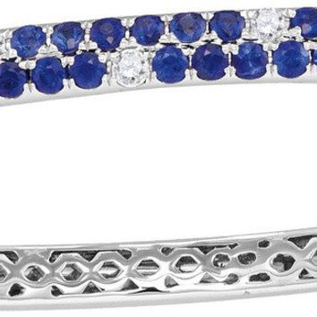 18kt White Gold Womens Round Blue Sapphire Diamond Double Row Bangle Bracelet 3-1/3 Cttw