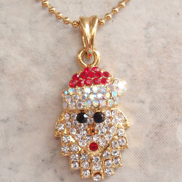Rhinestone Santa Necklace Aurora Borealis Gold Tone Ball Chain Vintage 061914MV