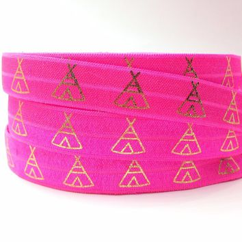 "New Arrival 5/8"" Teepee Print Neon Pink Fold Over Elastic Gold Foil FOE Ribbon for DIY Headwear Hair Accessory 10 yards/lot"