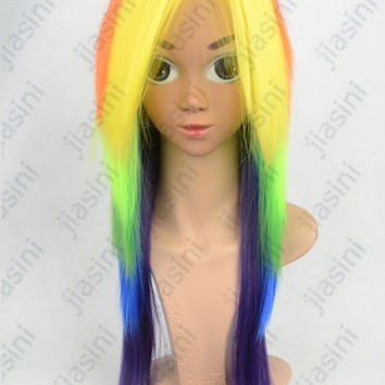 Classical Hot style Anime My little Pony Cosplay Free Shipping Cos Wigs Rainbow Straight Free Size