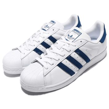 adidas Originals Superstar Full-Grain Leather White Navy Men Classic Shoe BZ0190