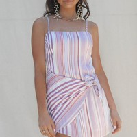 Far Out Stripe Side Wrap Mini Dress