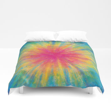Tie Dye Rainbow Vibrant Saturated Painting Drawing Coloring Duvet Cover by AEJ Design