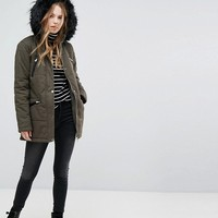 New Look Faux Fur Trim Parka Coat at asos.com