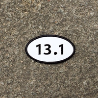"13.1 Half Marathon Patch - Iron or Sew On - 2"" x 3.5"" - Embroidered Oval Runners Applique - Black White Hat Bag Sport Accessory Handmade USA"