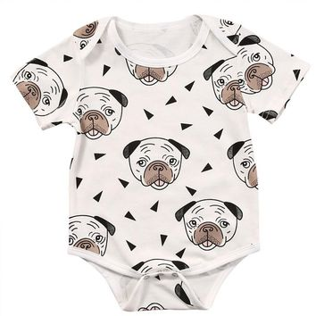 Baby Infant Toddler Newborn Boys Girls Short Sleeve Romper Clothes Outfit Cute Dog Jumpsuit