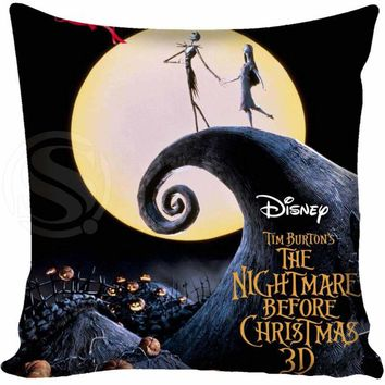 The Nightmare Before Christmas Pillowcases zipper pillow 35x35cm 40x40cm 45x45cm 60x60cm two sides Pillow Case Custom your image