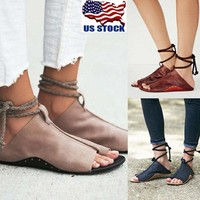Rome Gladiator Sandals Women's Summer Ankle Strap Flat PU Leather Shoes Size USA