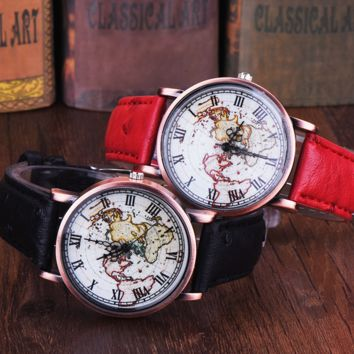 Vintage World Map Leather Watch