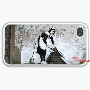 iPhone 4 Case - Banksy Maid iphone 4 case, iPhone 4s Case, iPhone 4 Hard Case, iPhone Case