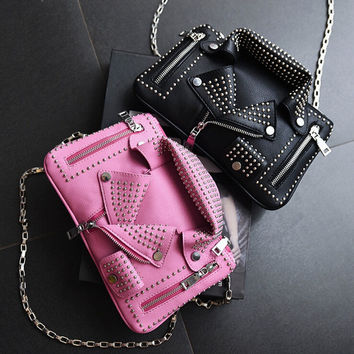 Women Leather Handbags Rivet Chains Sling Bag Punk Bolsos Mujer Personality Fashion Crossbody  Zipper Sac Bandouliere