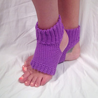 Purple Sparkle Crochet Yoga Socks