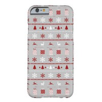 Christmas Sweater Pattern, white, red on gray Barely There iPhone 6 Case