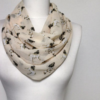 Pug Dog Pattern Chiffon Infinity scarf, Tube scarf, Circle scarf, Loop scarf, scarves, spring - summer - fall - winter fashion