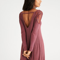 AEO Soft & Sexy Ribbed Lace-Shoulder Dress, Mauve