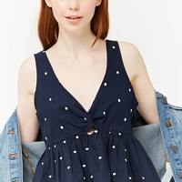 Polka Dot Twist-Front Top
