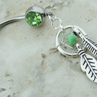 Peridot Green Dream Catcher Belly Button Ring