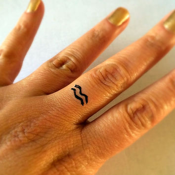 Aquarius Temporary Tattoo / Fake Tattoos / Finger Tattoos / Zodiac Sign