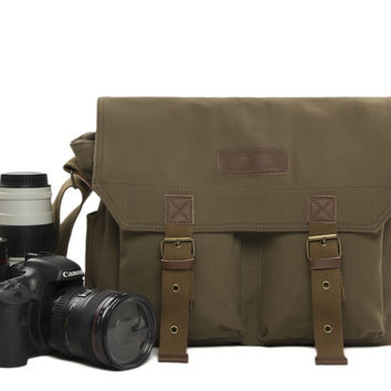 Retro Camera Bag Canvas DSLR Camera Bag Camera Crossbody Bags Canvas Camera Bag 1003 Green