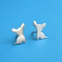 Tiny  Chihuahua Studs Silhouette Dog Earrings by zoozjewelry
