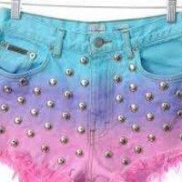 Colorful, ombre, studded shorts distressed