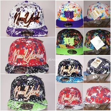 Paint Splash snapback caps, bling flat peak baseball fitted hats, hiphop NY