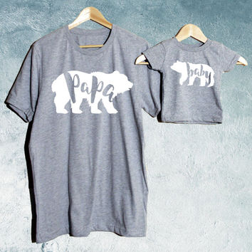 Papa Bear & Baby Bear T-shirt Set of 2, Daddy crew-Neck T-shirt, Baby T-shirts/ Baby shower gift
