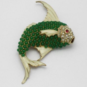 Vintage CINER Large Figural Fish Brooch Beaded Turquoise Enamel Rhinestone Pin