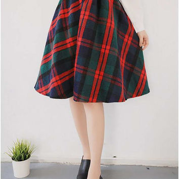 Blends Wool A line Midi Plaid  Skirt