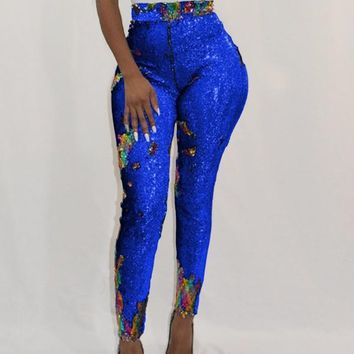 New Blue Patchwork Sequin Sparkly High Waisted Party Long Pant