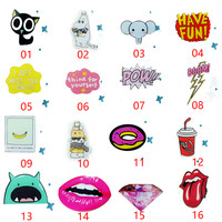 2016 1pcs Fashion Cartoon Acrylic Pin Badge Clothes Badges Patch Package Badge Animal Letter Pattern Design Party Decorations