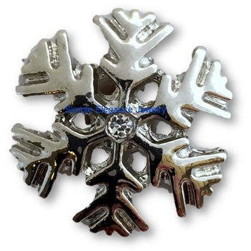 Metal Rhinestone Snowflake Snap 20mm for Snap Jewelry