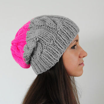 Neon Pink and Grey Cable Knit Beanie Hat, Chunky Knit Hat, Slouchy Beanie Hat, Pink and Grey Hat