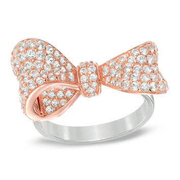 Lab-Created White Sapphire Bow Ring in Sterling Silver with 18K Rose Gold Plate - Size 7