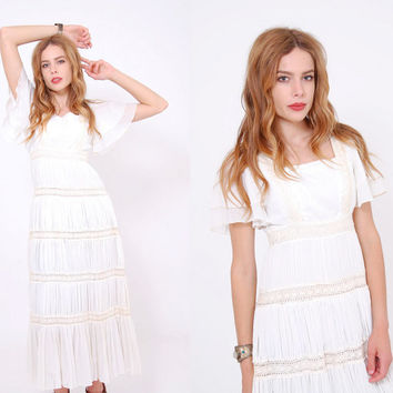 Vintage 70s Gauze MEXICAN Wedding Dress White CROCHET Lace Boho WEDDING Dress  Flutter Sleeve Hippie Dress
