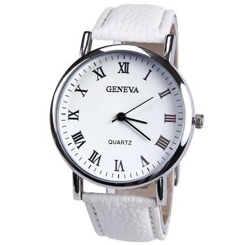 New Elegant Fashion Watch Women Small Roman Numbers Quartz Men Business wristwatch White Face Student watch Geneva Style